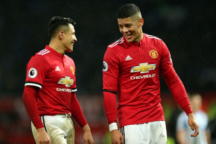 <enter caption he /> during the Premier League match between Manchester United and Huddersfield Town at Old Trafford on February 3, 2018 in Manchester, England.