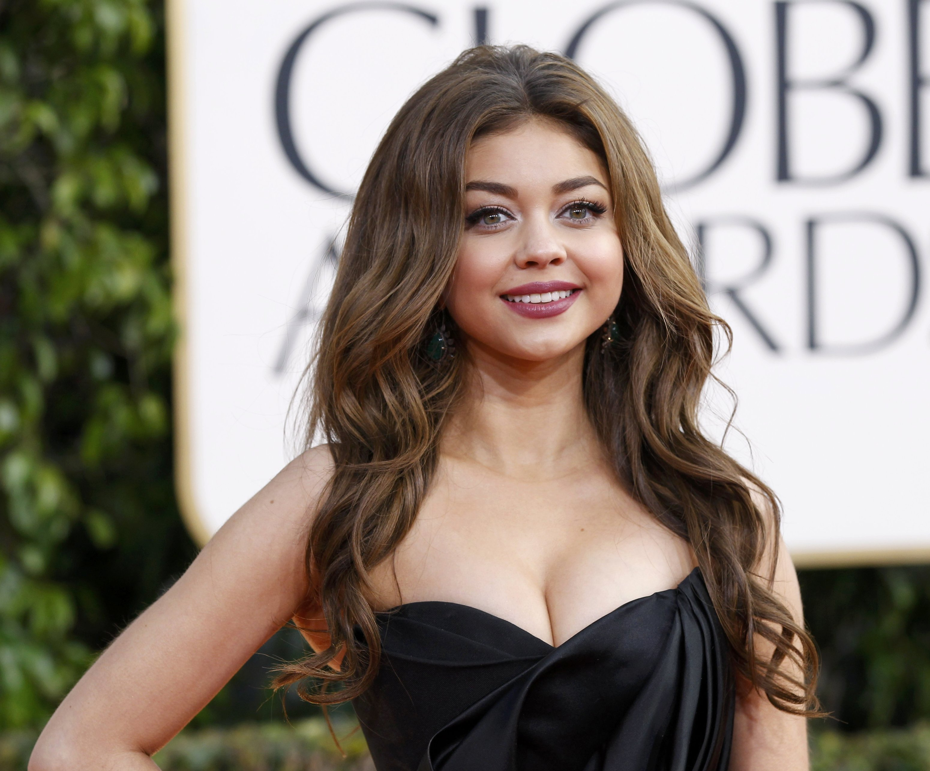 Actress Sarah Hyland arrives at the 70th annual Golden Globe Awards in Beverly Hills