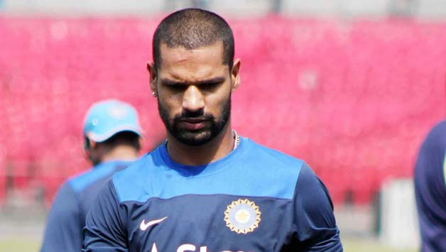 Cuttack: Indian cricketer Shikhar Dhawan during a practice session at Barabati Stadium in Cuttack  on Oct.31, 2014. (Photo: IANS)